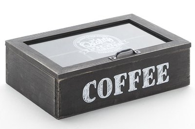 Koffiedoos   Hout Zwart