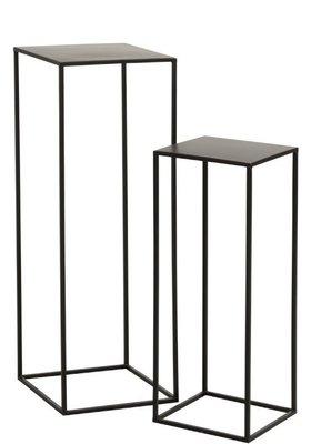 Bijzettafels Vierkant Metaal Zwart set2