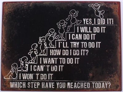 Tekstbord | Which step have you reached today?
