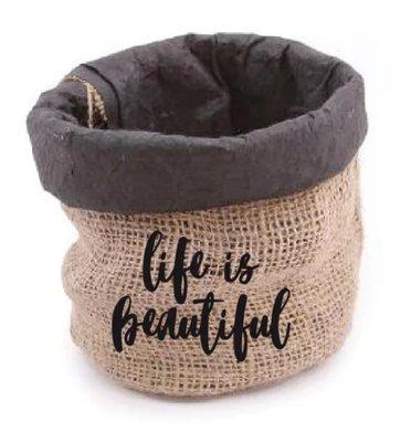 Jute Bag life is beautiful / Black