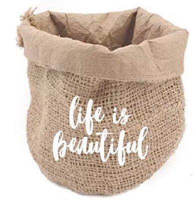 Jute Bag life is beautiful / White
