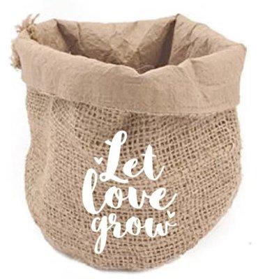 Jute Bag Let love grow / White
