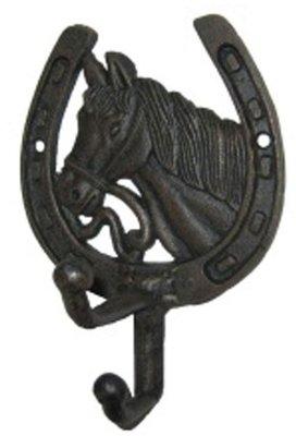 Hoefijzer haak met Paard Zwart