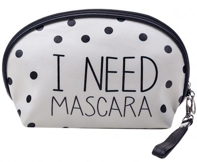 "Toilettas / Make-up tas "" I need mascara"" 18 cm."