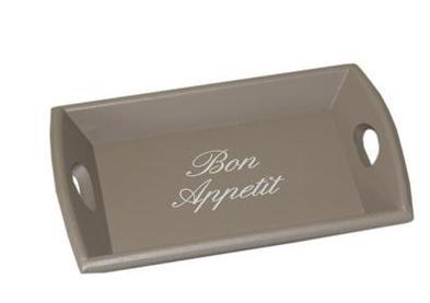 """Dienblad """"Bon Appétit"""" Taupe"""