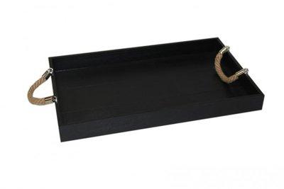 Dienblad zwart hout/touw