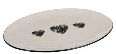 Serveerschaal Hartjes wit zwart   Mooie grote serveerschaal met lieve hartjes. Afmeting: 40 X 29CM.
