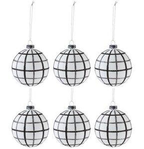 Kerstballen zwart wit  Ruiten zwart wit