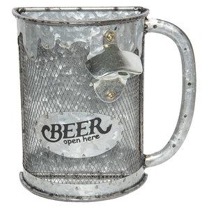 Flesopener voor aan de muur IJzer/Gaas in de vorm van Bierpul