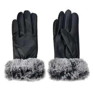 handschoenen zwart met imitatie bont