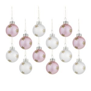 Kerstballen Rose/Creme set 12 stuks