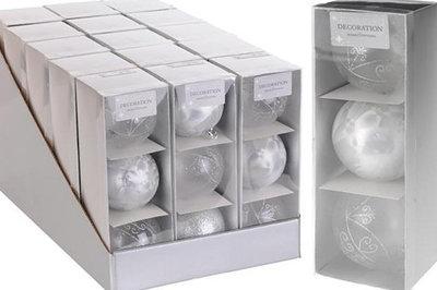 Kerstballen | Wit / zacht Zilver/Wit