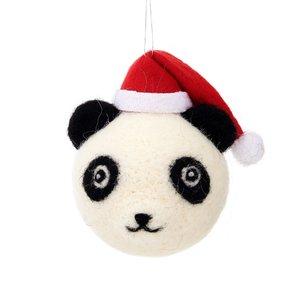 Kerstbal Panda Zwart Wit Rood