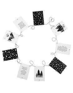 Kerst slinger zwart wit met 9 kaarten