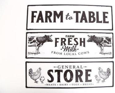 tekstbord boerderij koe kip