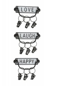 Kapstok/handdoek-clip Love/Laugh/Happy