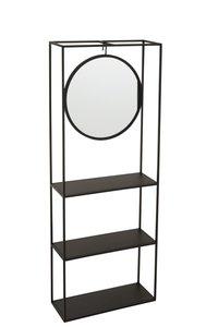 Hangrek Spiegel Metaal Zwart J-Line