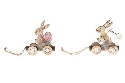 Paashaasjes op wielen set 2 stuks