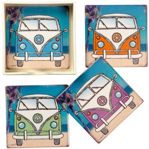 Onderzetters VW Bus set 4