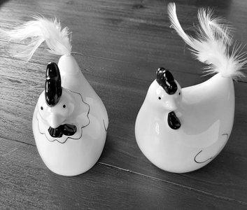Kippen zwart wit met veer staartje set 2