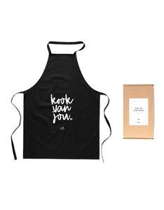 Zwart wit Schort met tekst 'Kook van jou' Mooi zwart katoenen keukenschort