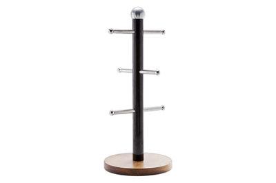 NERO BEKER-HOUDER / REK VOOR MOKKEN  RVS-ACACIA Afmeting rek:22 x 9 cm. Merk: Cosy&Trendy