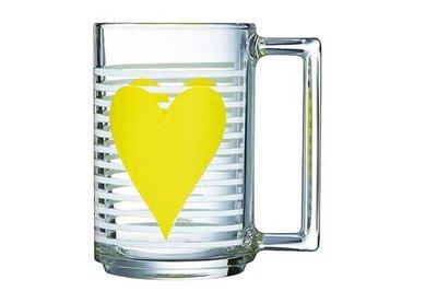 Glas/beker met Geel hart per 2