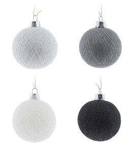 Kerstbal Cotton Balls set 4