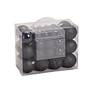 Kerstballen Zwart set 50