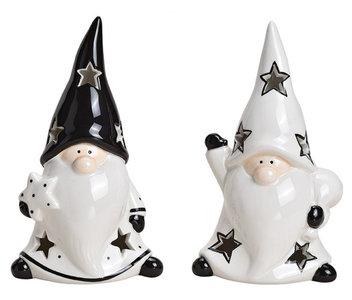 Kerstman gnome keramisch wit, zwart