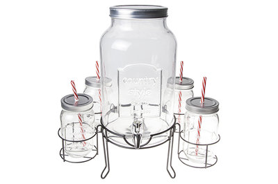 DISPENSER 5,5 L met 4 glazen/rietjes/deksel
