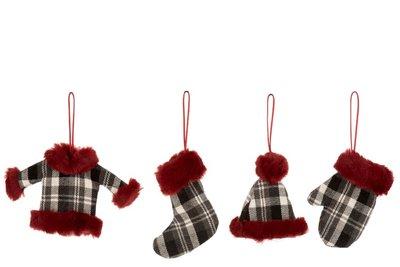 Kerstkleding voor in de boom Textiel Zwart/Wit/Rood hangers 4 ass.