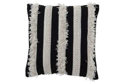 Kussen Streep Monochroom Katoen Zwart/Wit