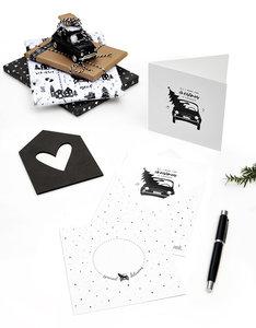 Dubbele kerstkaart 'All I want for Christmas is you' met bedrukte envelop
