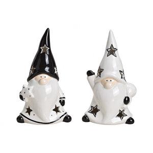 Kerstman keramisch gnome wit, zwart 2 assorti