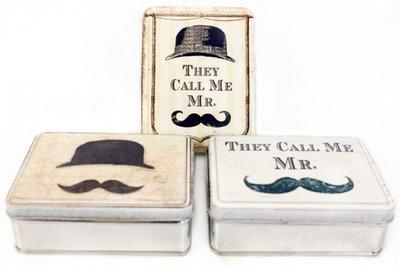 Moustache design blikje