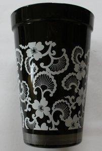 Vaas zwart met witte decoratie