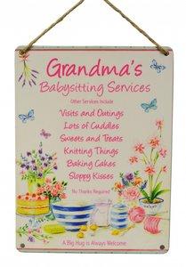 Tekstbord | Grandma's Babysitting Service