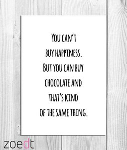 """Kaart """"You can't buy happiness"""""""