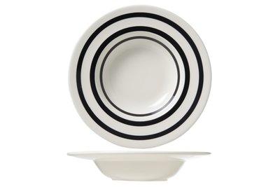 Zwart-Wit gestreept diep bord / Black Bands
