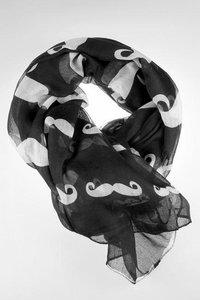 Sjaal Zwart Wit Snorren