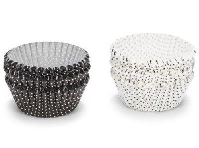 Cupcake cups 200 stuks zwart wit
