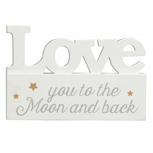Tekstbord Love you to the moon.. | Staand |10 x 15 x 5 cm | Hout