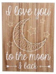 Tekstbord |I love you the the moon | Draad