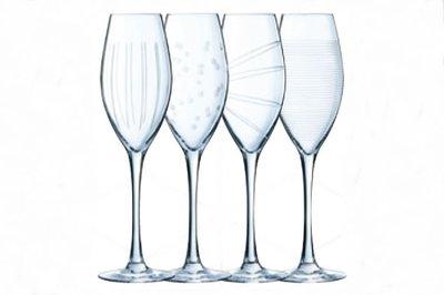 Champagneglazen 4 x | stip/streep