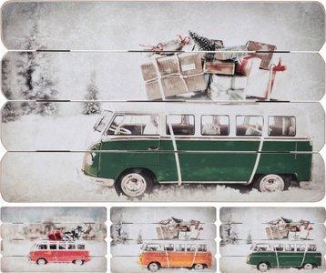 Wandbord Kerstvakantie met VW Bus A3