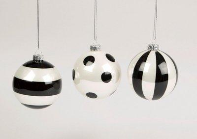 Kerstbal |  Zwart Metallic Wit| Stip/Streep set 3 stuks