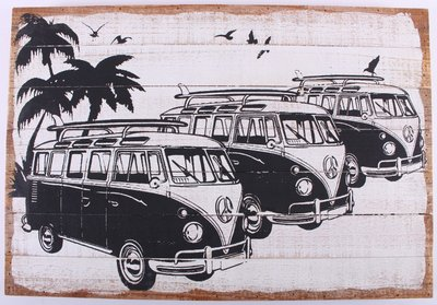 Wandbord | vakantie VW Bus Zwart/Wit