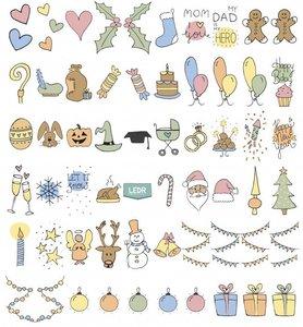Feestdagen Emoticons, plaatjes voor de Lightbox A5-A4-A3