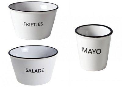 Kommen set Salade, Frietjes, Mayo